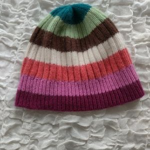 Coach Legacy Stripe Knit Beanie Hat Cashmere Blend